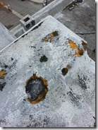 Roof Coatings - Bird Holes in Spray Polyurethane Foam SPF with Roof Coating System